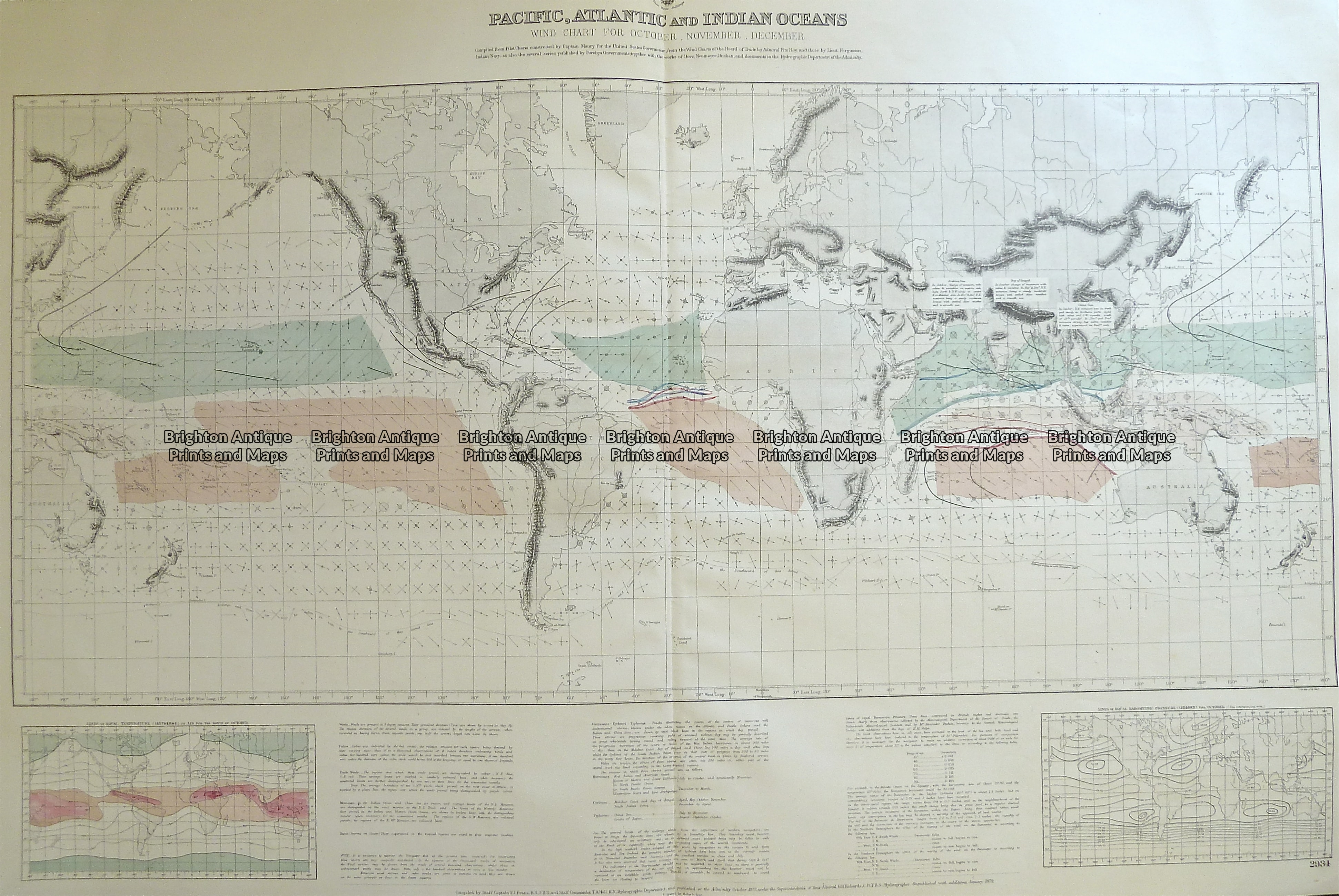 Antique Map 16-260 World - Admiralty chart - Wind chart c.1879 ... on
