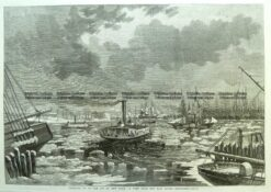 22-015  Breaking ice in New York from East River c.1862