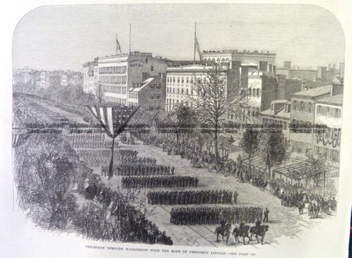 22-023  President Lincoln – funeral procession in Washington c.1865
