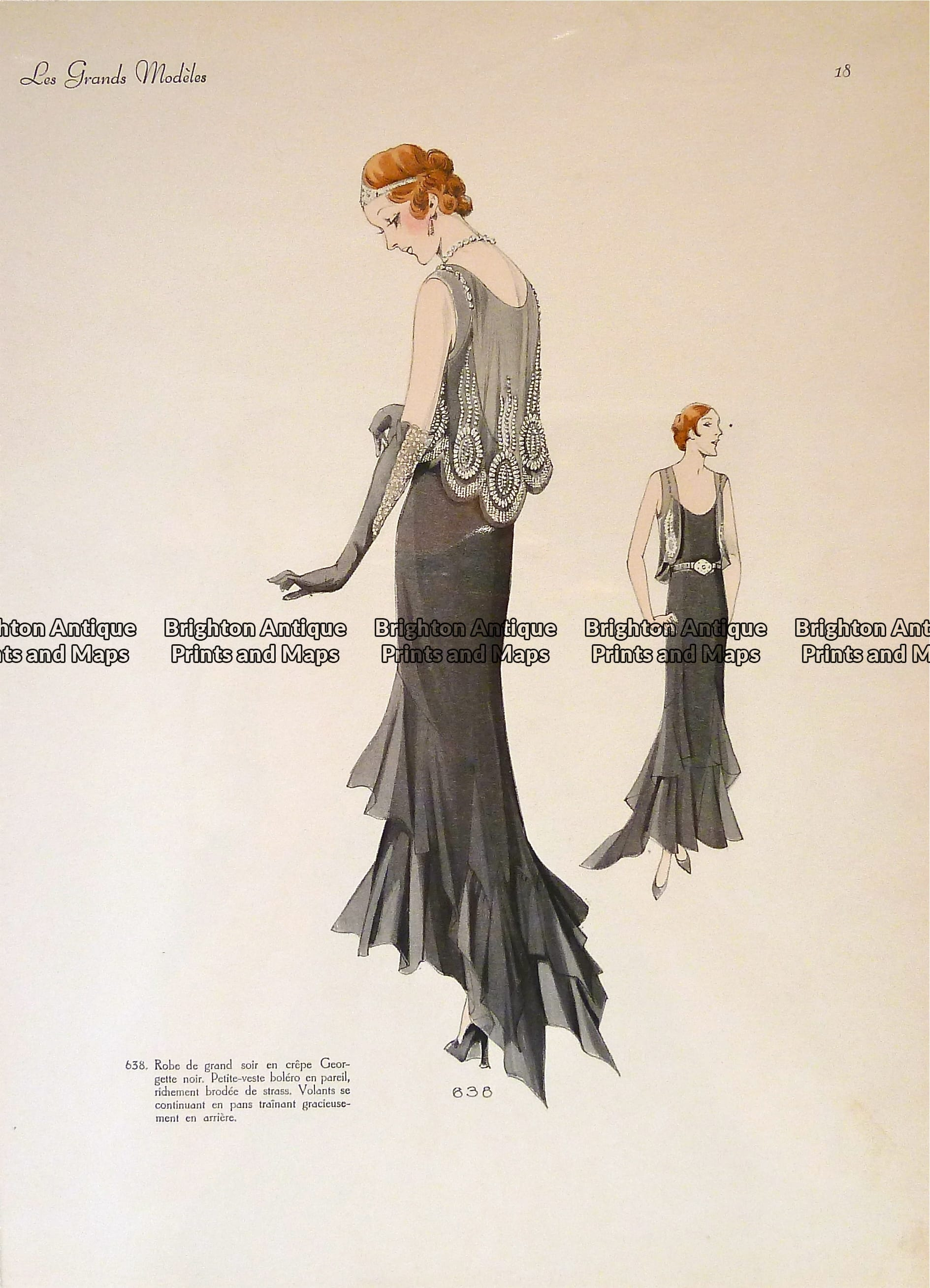 23-816 Fashion evening gown from 1930\'s Les Grands Modeles ...