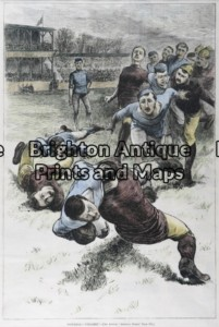 26-629 - Football - Gridiron Anon - circa 1880 Hand coloured wood engraving 23cm X 35cm Condition A+