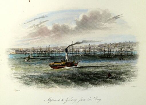 29-112  Geelong – Approach from the Bay by S. T. Gill c.1857