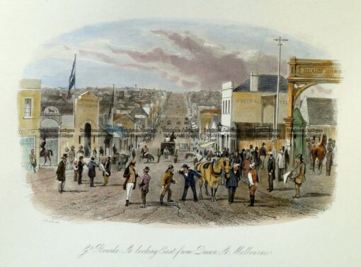 29-122  Melbourne – Great Bourke St looking East by S. T. Gill  c.1857