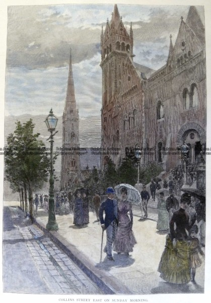29-446 – Melbourne – Collins Street on a Sunday Morning Anon – circa 1886 Hand coloured wood engraving 18cm X 26cm Condition A+