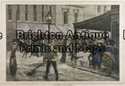 29-449 - Melbourne - Elizabeth Street in flood J Ashton - circa 1875 Hand coloured wood engraving 32cm X 22cm Condition A+