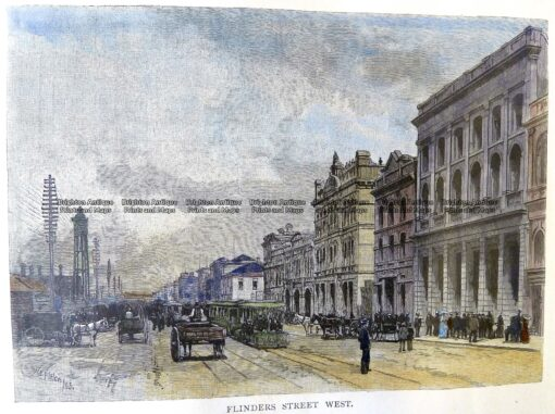 29-450 – Melbourne – Flinders Street W Firler – circa 1886 Hand coloured wood engraving 18cm X 13cm Condition A+