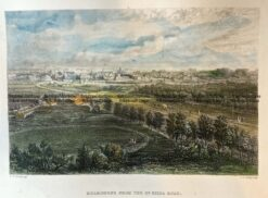 29-452 - Melbourne - St Kilda Road J Armytage - circa 1873 Hand coloured steel engraving 18cm X 13cm Condition A+