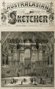 29-460 - Melbourne - Organ at Exhibition Building Anon - circa 1880 Wood engraving 23cm X 24cm Condition A+