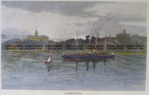 29-483 – Victoria – Sorrento Anon – circa 1886 Hand coloured wood engraving 20cm X 12cm Condition A+