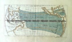 3-006 - Australia - Mer du Sud (Pacific) A F Prevost - circa 1753 Hand coloured copperplate engraving 30cm X 15cm Condition A+
