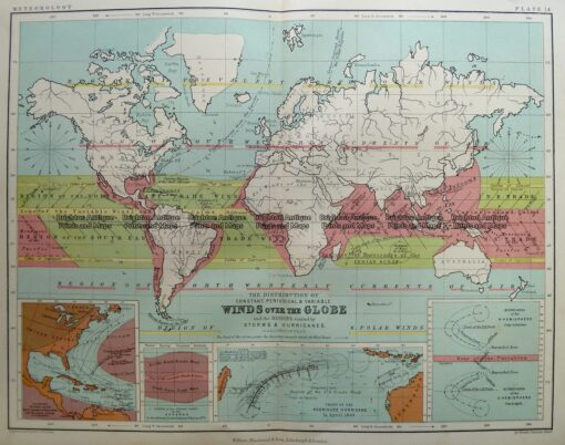 3-393  World – Winds over the Globe by Johnston c.1851