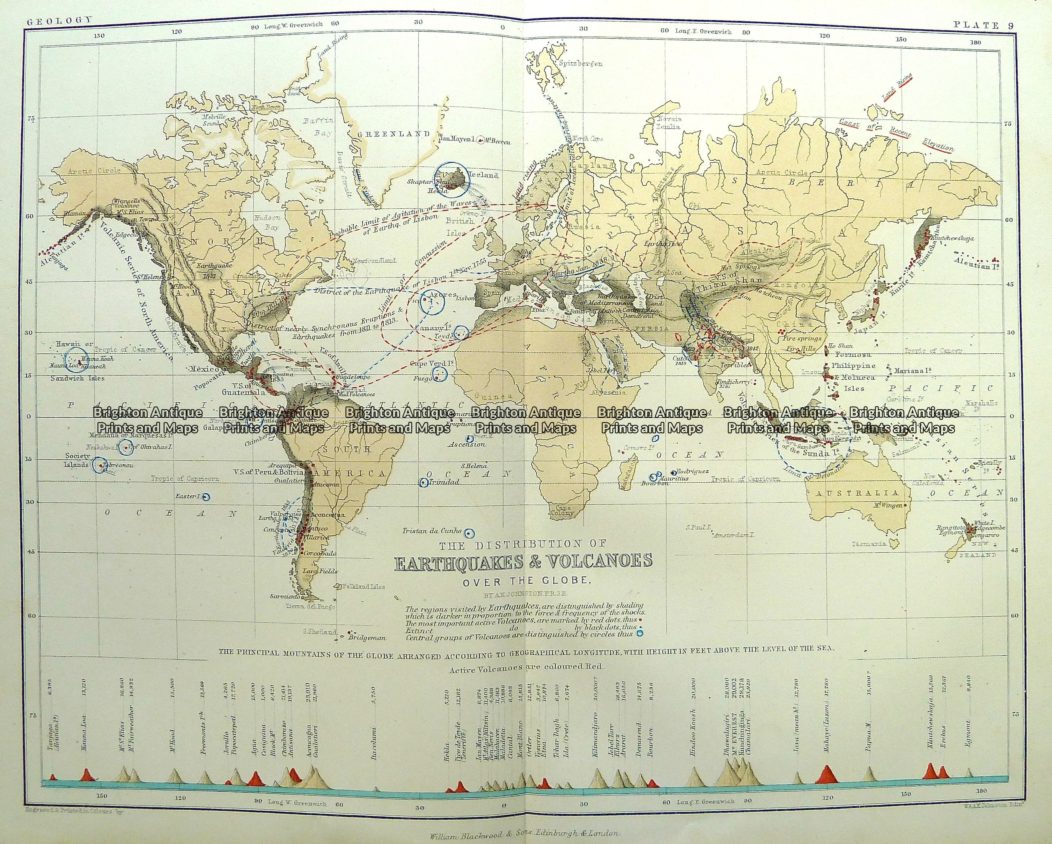 Antique Map 3-394 World - Earthquakes & Volcanoes by Johnston c ...