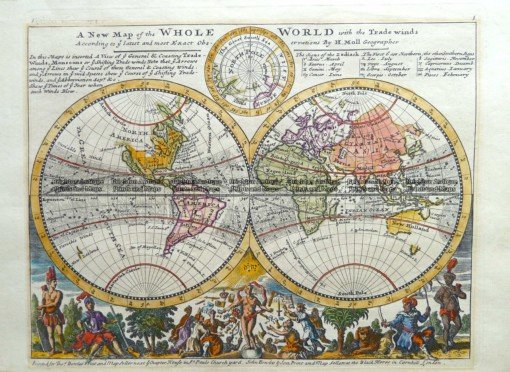 3-395  World – double hemisphere by H Moll  c.1732