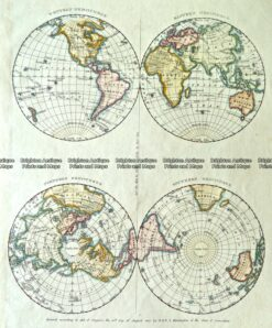 3-814  World - Hemispheres and Poles by Huntington c.1830