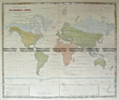 3-815  World with Isothermal Lines by Johnston c.1850