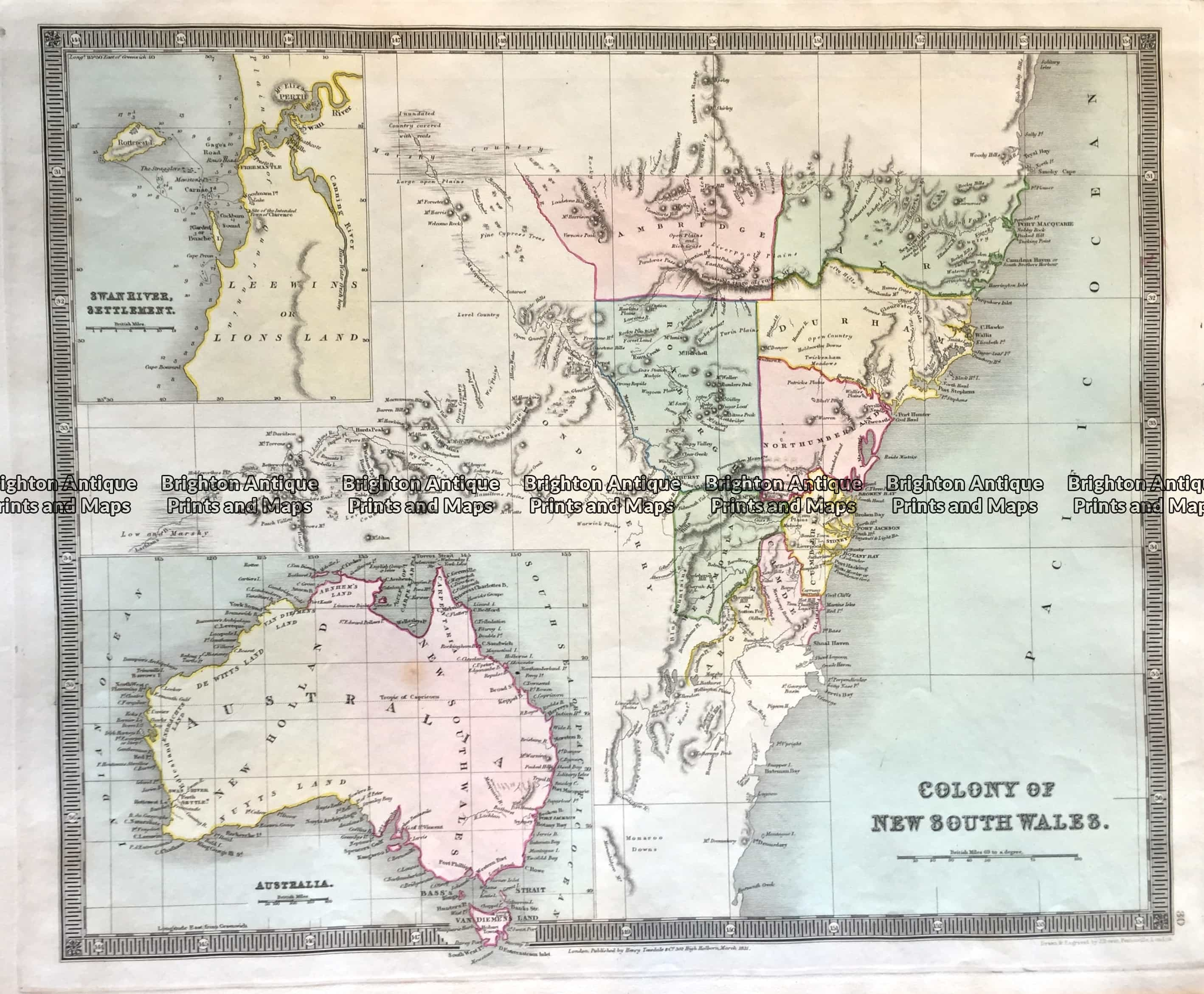 Nsw Map Australia.Details About Antique Map 3 818 Nsw And Australia By Teasdale C 1844 Australia Continent