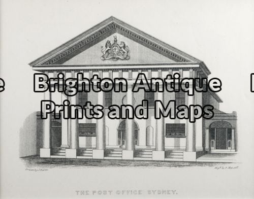 30-356 – Sydney – Post Office J Fowles – circa 1848 (1880) Tinted lithograph 20cm X 15cm Condition A+