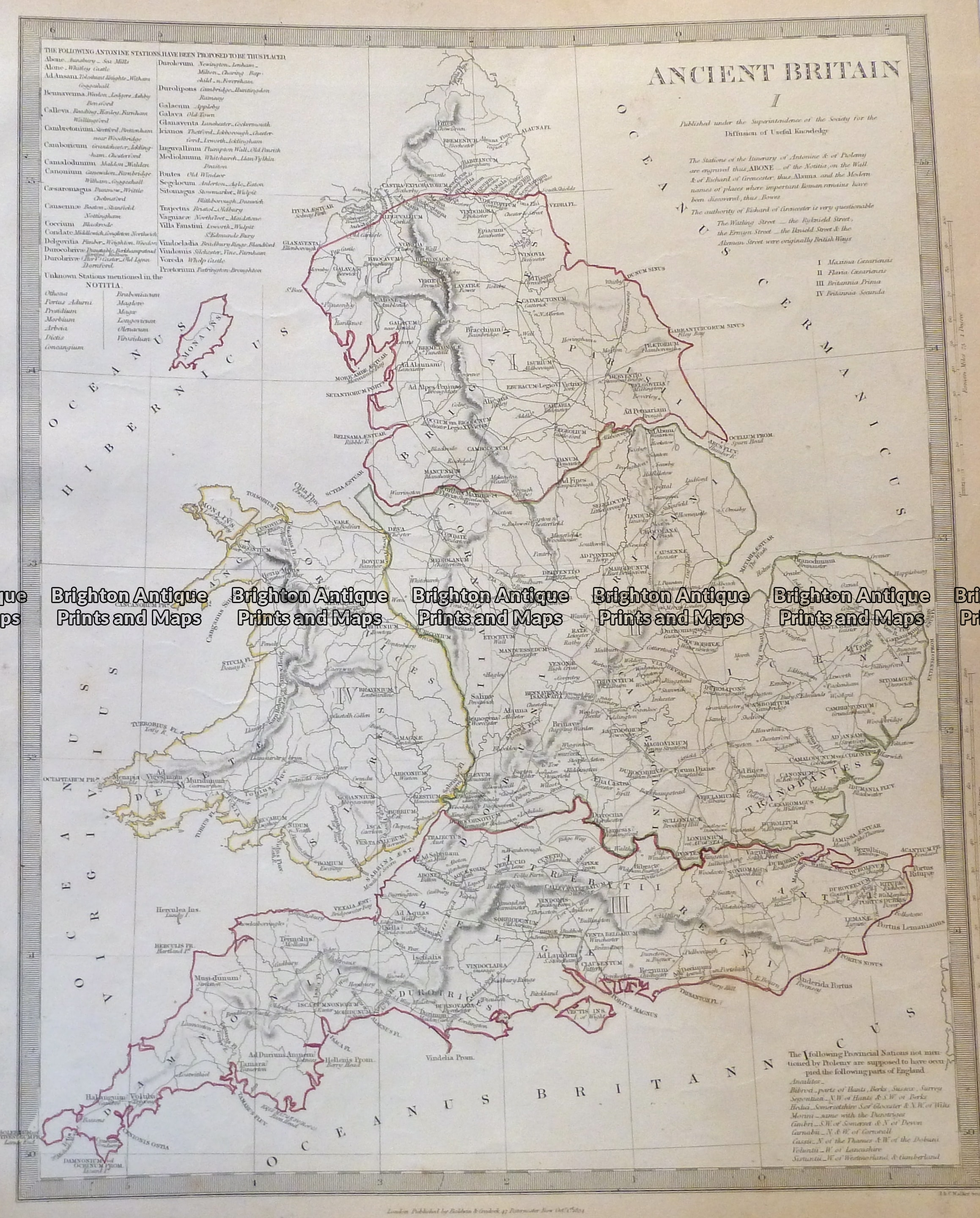 4 167 Ancient England And Wales C 1844 Brighton Antique Maps