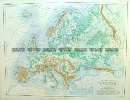 4-186  Europe – Topographical map  by Blackwood  c.1890