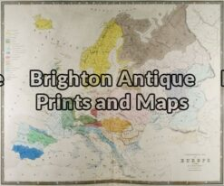 5-024 - Europe - ethnographic map W & AK Johnston - circa 1860 Hand coloured steel engraving 59cm X 49cm Condition B
