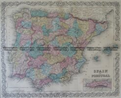 5-160 Spain and Portugal by Colton  circa 1855
