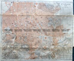 5-185  Greece - Athens street map by Wagner & Debes c.1911