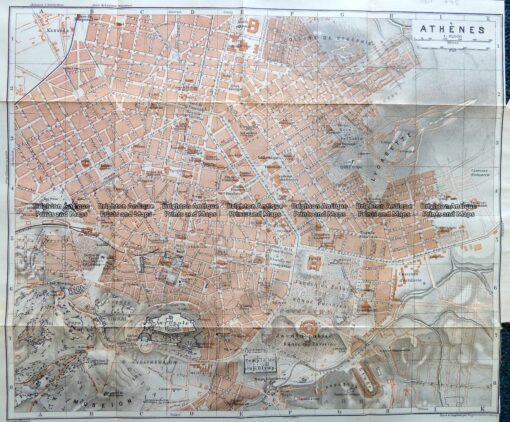 5-185  Greece – Athens street map by Wagner & Debes c.1911