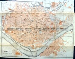 5-186 - Spain - Seville street map by Wagner & Dubes c.1911