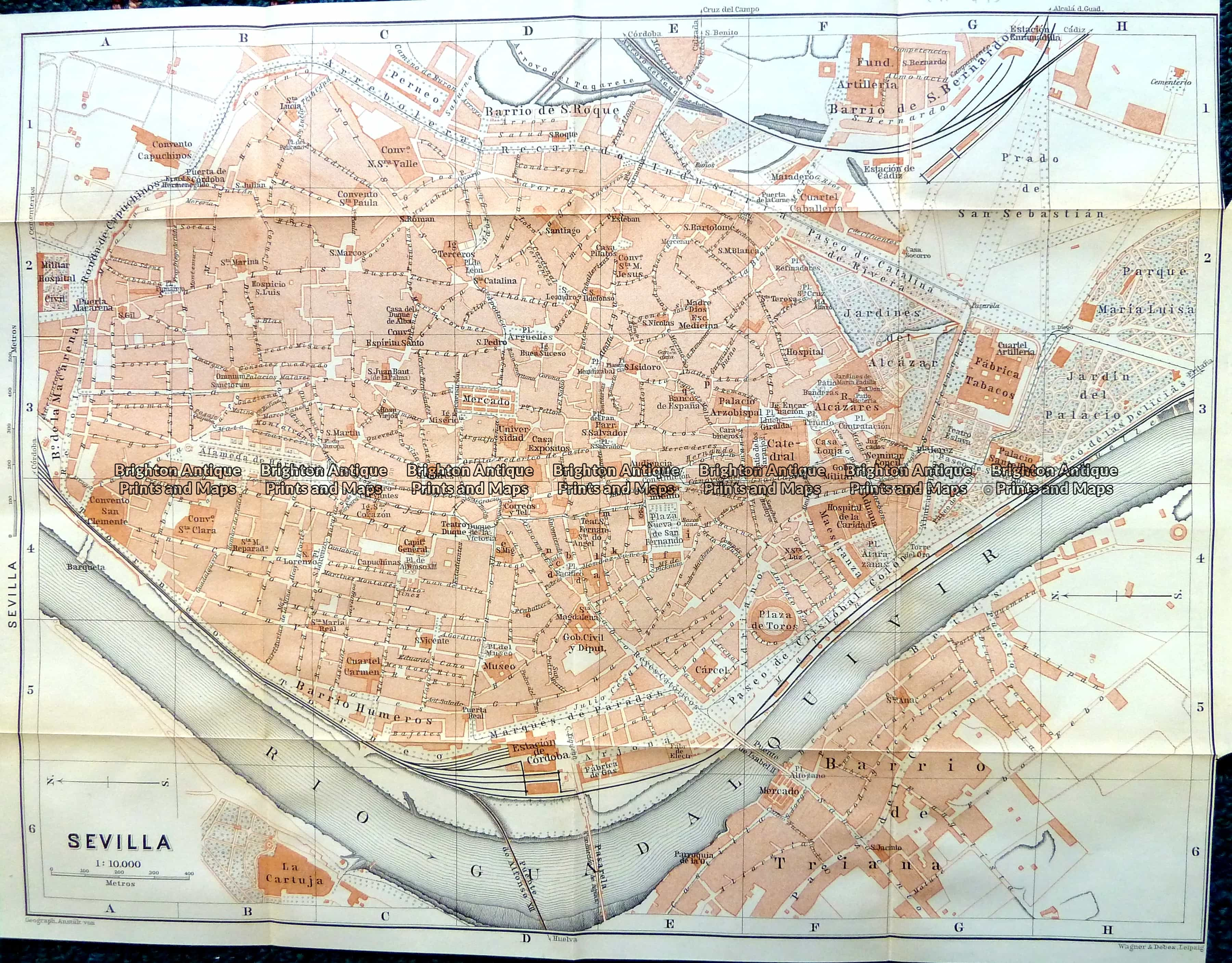 5-186 - Spain - Seville street map by Wagner & Dubes c.1911 ...