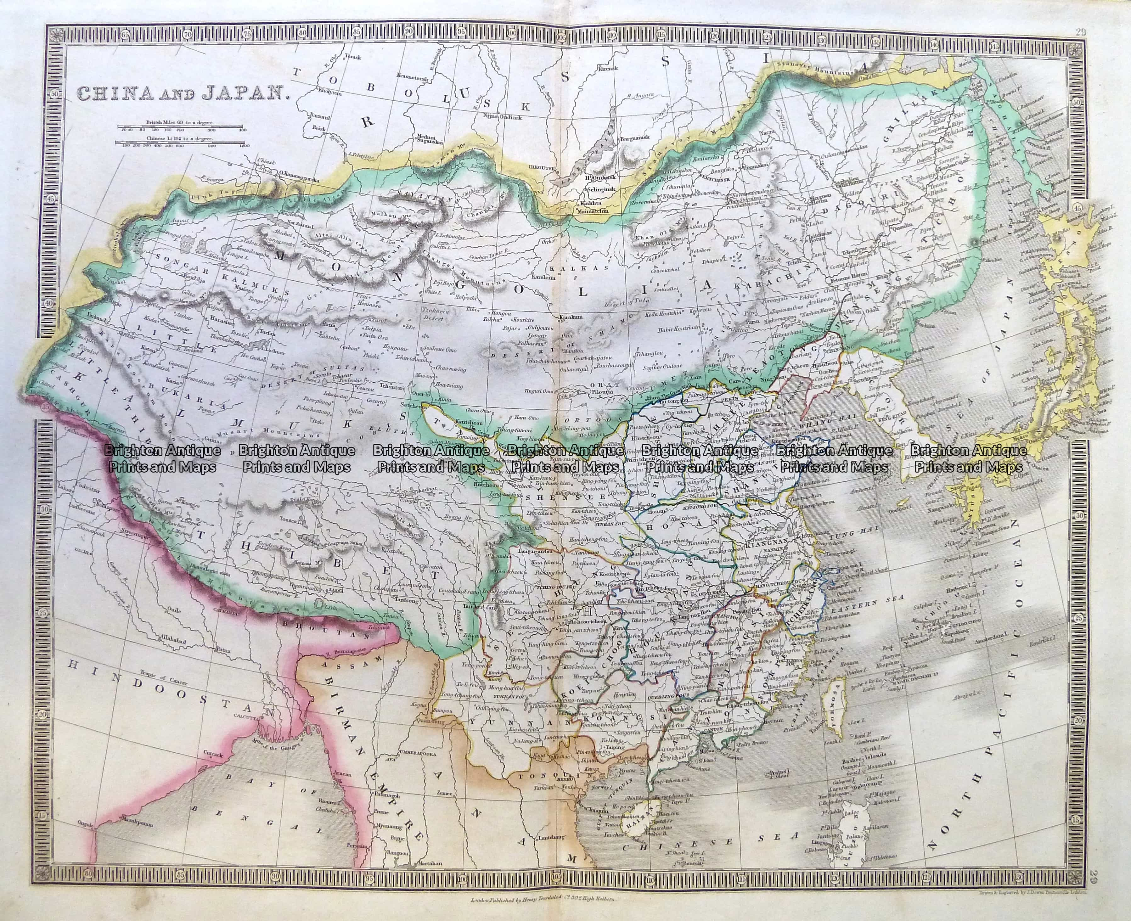 China And Japan By Teesdale C Brighton Antique Maps - Japan map 5