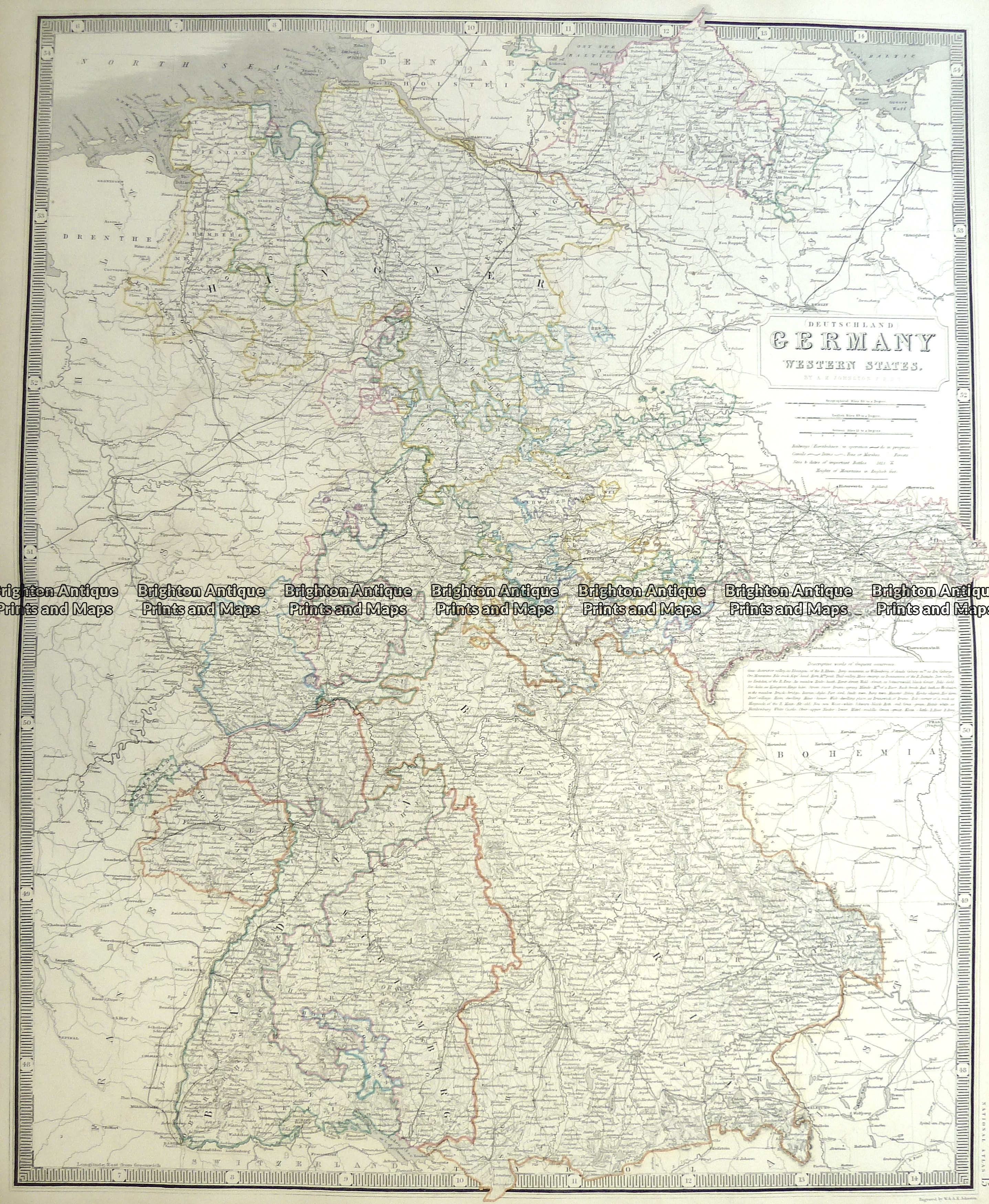 Antique Map 5 211 Germany Western States By A K Johnston C 1850