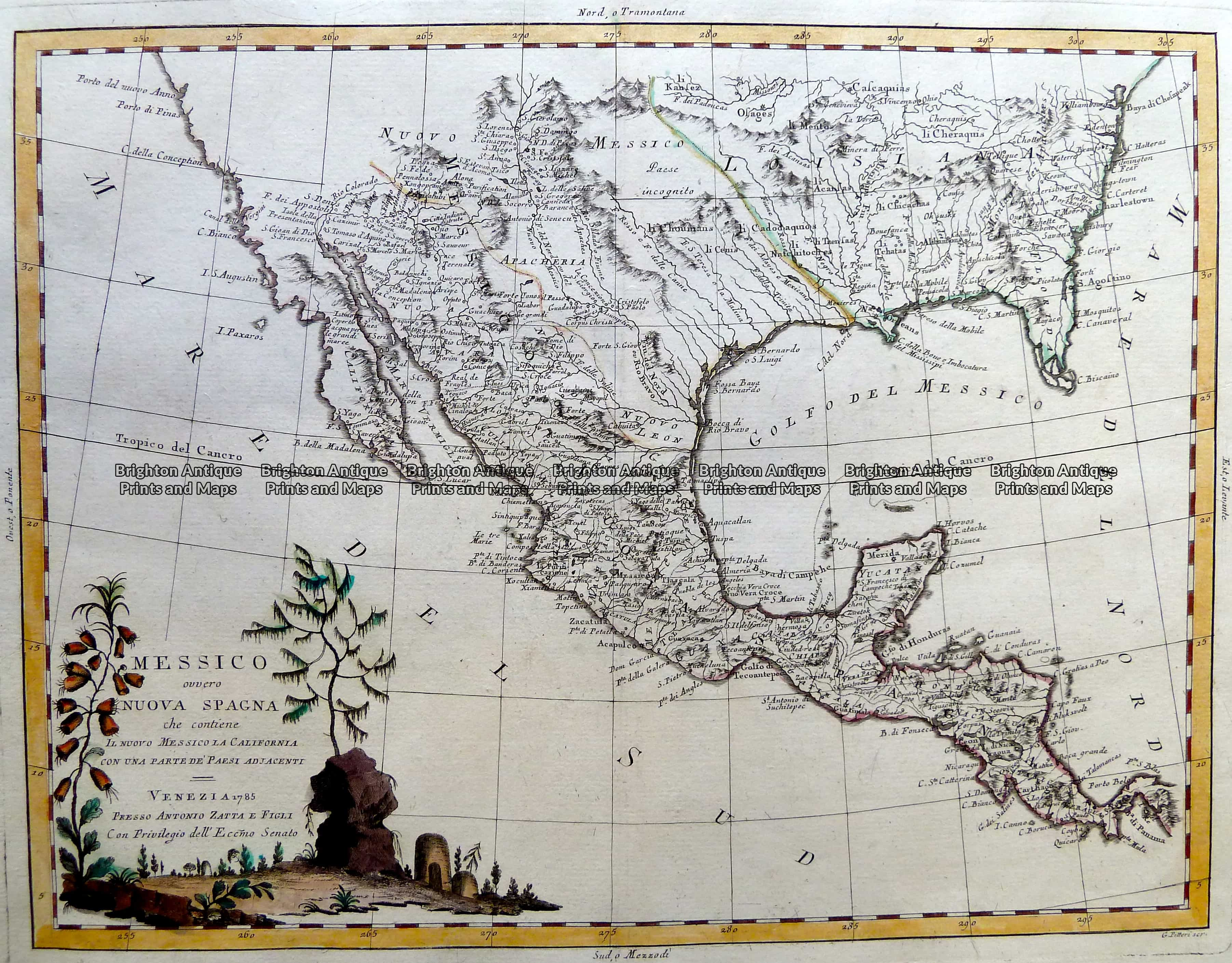Map Of Usa 1776.Antique Map 5 263 Mexico Texas And Louisiana By Zatta C 1776