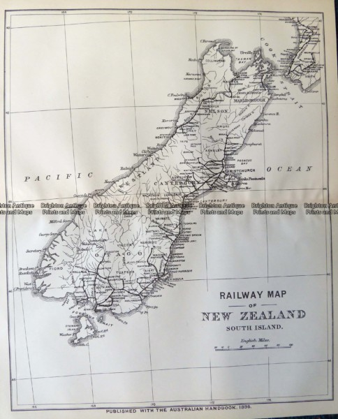 7-066  New Zealand South Island Railway map  c.1896