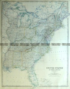 8-001  United States - Eastern States by Johnston c.1864