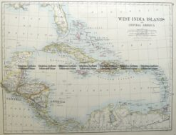 8-184  West Indies & Central America by Johnston  c. 1886