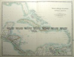 8-187  West India Islands & Central America by Johnston  c.1887