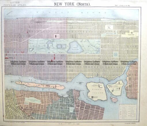 8-200  New York – Central Manhattan by Letts  c.1883