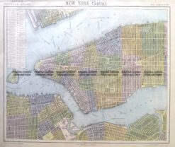 8-201  New York - Lower Manhattan street map by Letts c.1883
