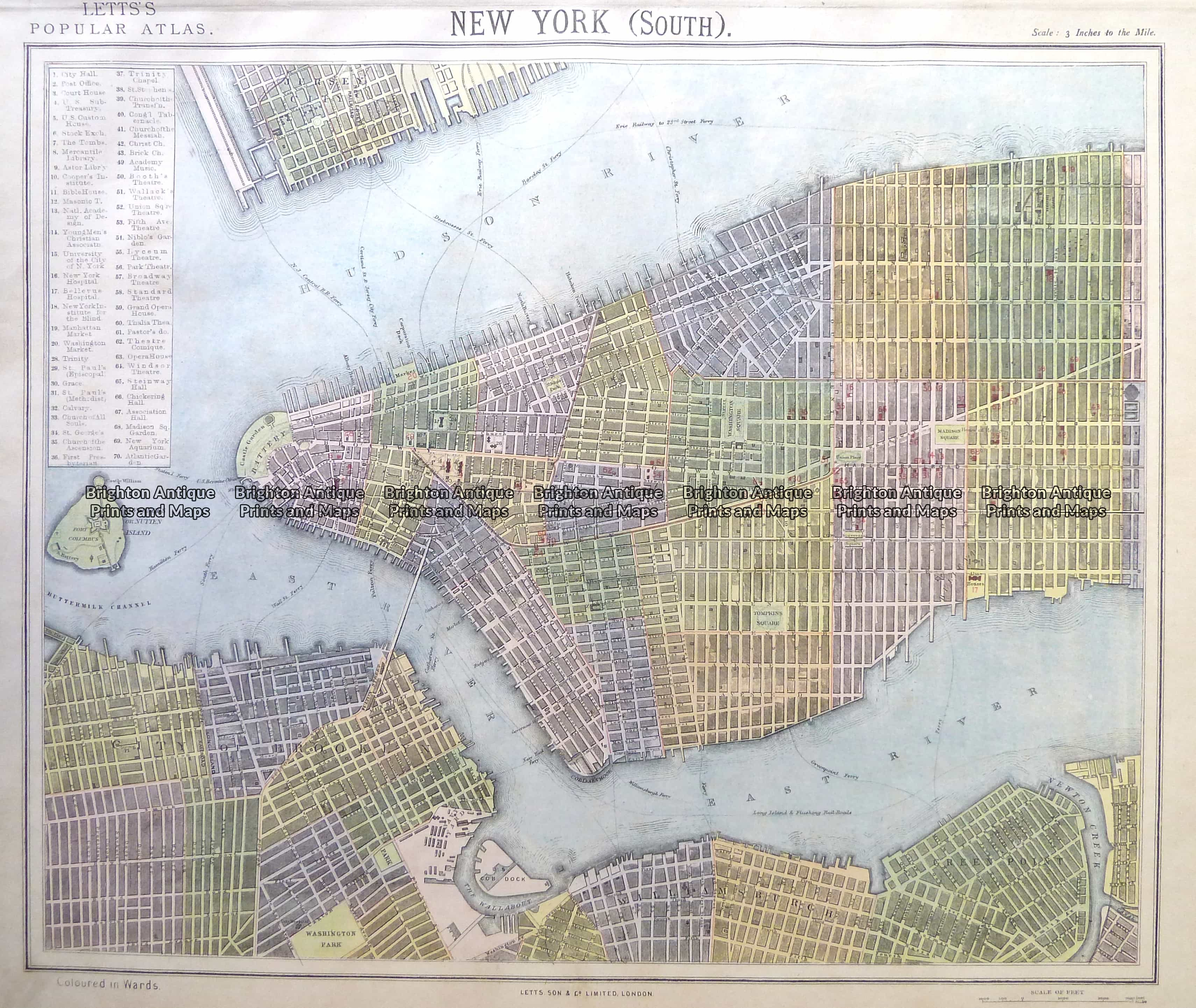 Road Map Of Manhattan.8 201 New York Lower Manhattan Street Map By Letts C 1883