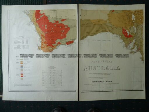 9-971  Geological map of Australia by Everett c.1887