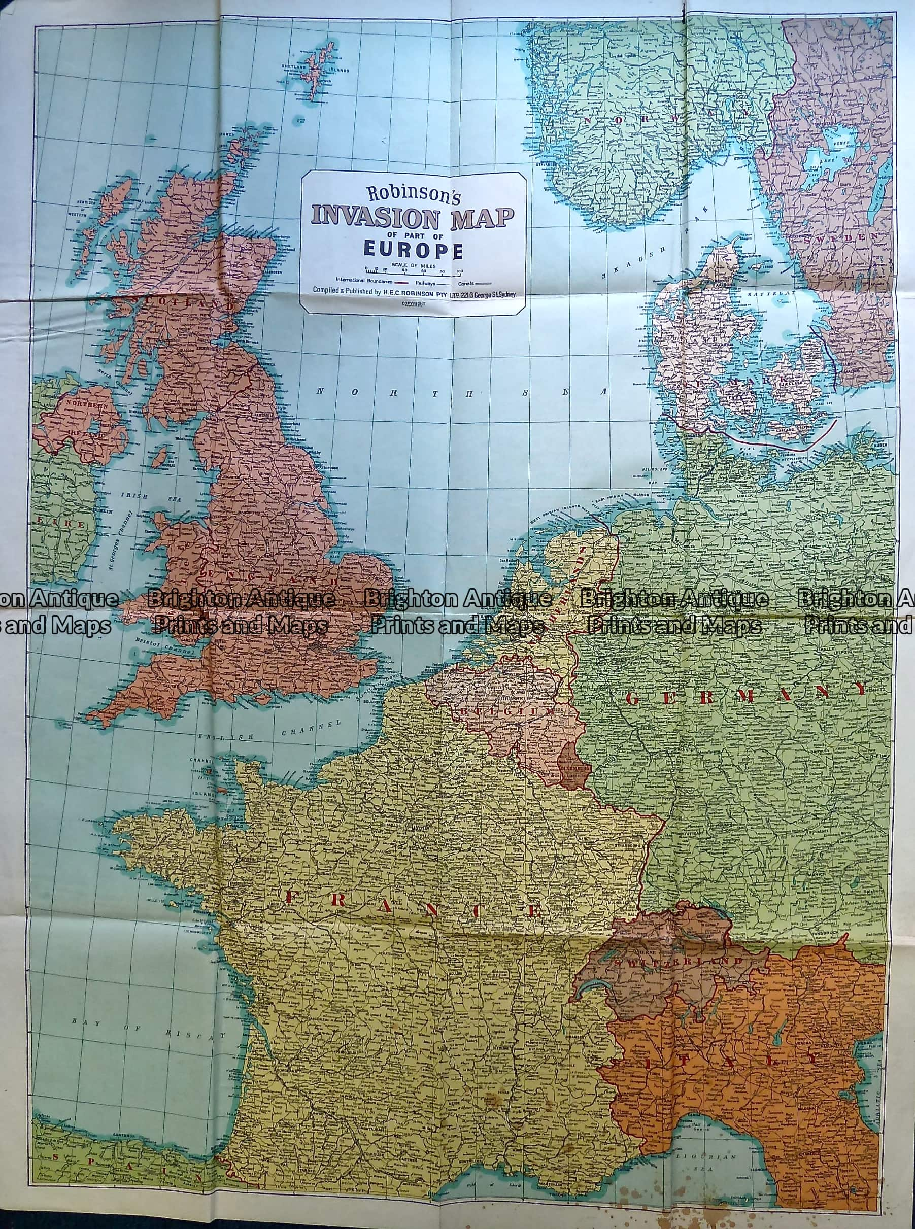 230 197 Europe World War Ii Invasion Map C 1940 S Brighton