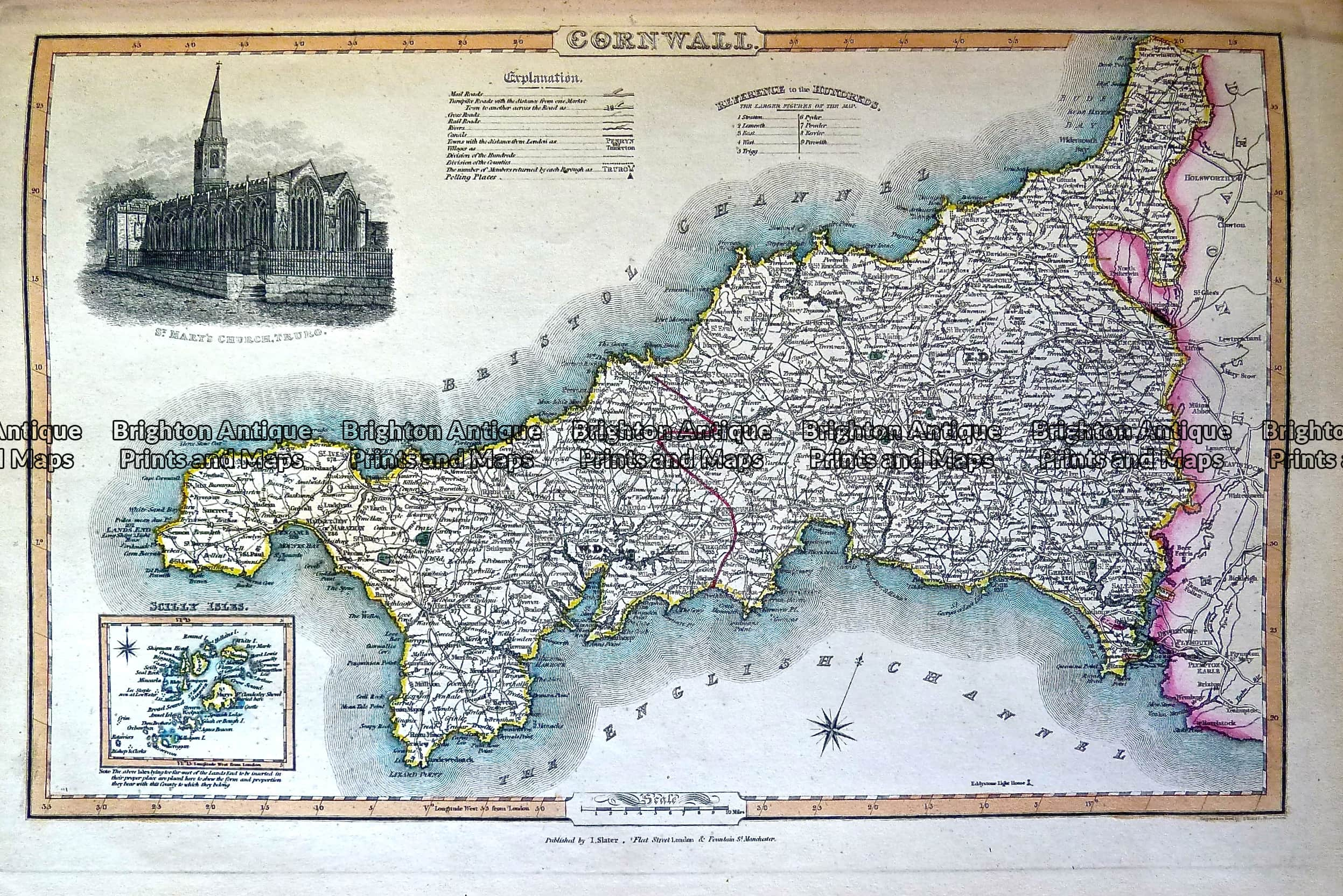 Map Of England Showing Cornwall.Antique Map 230 485 County Of Cornwall By Slater C 1846 Brighton