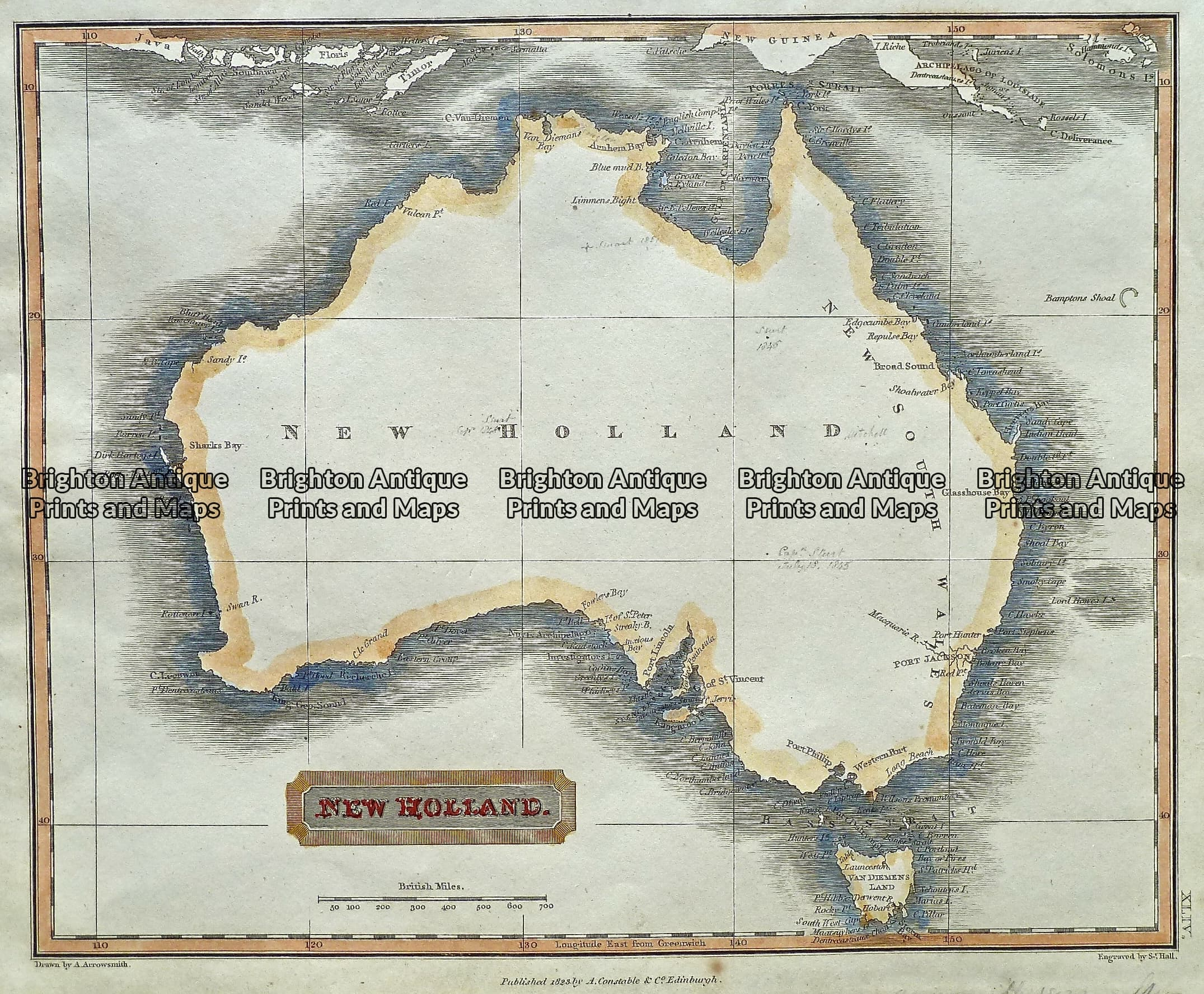 Map Of Australia To Buy.Antique Map 230 568 New Holland Australia By S Hall C 1823 Brighton Antique Prints And Maps Shop Buy Now