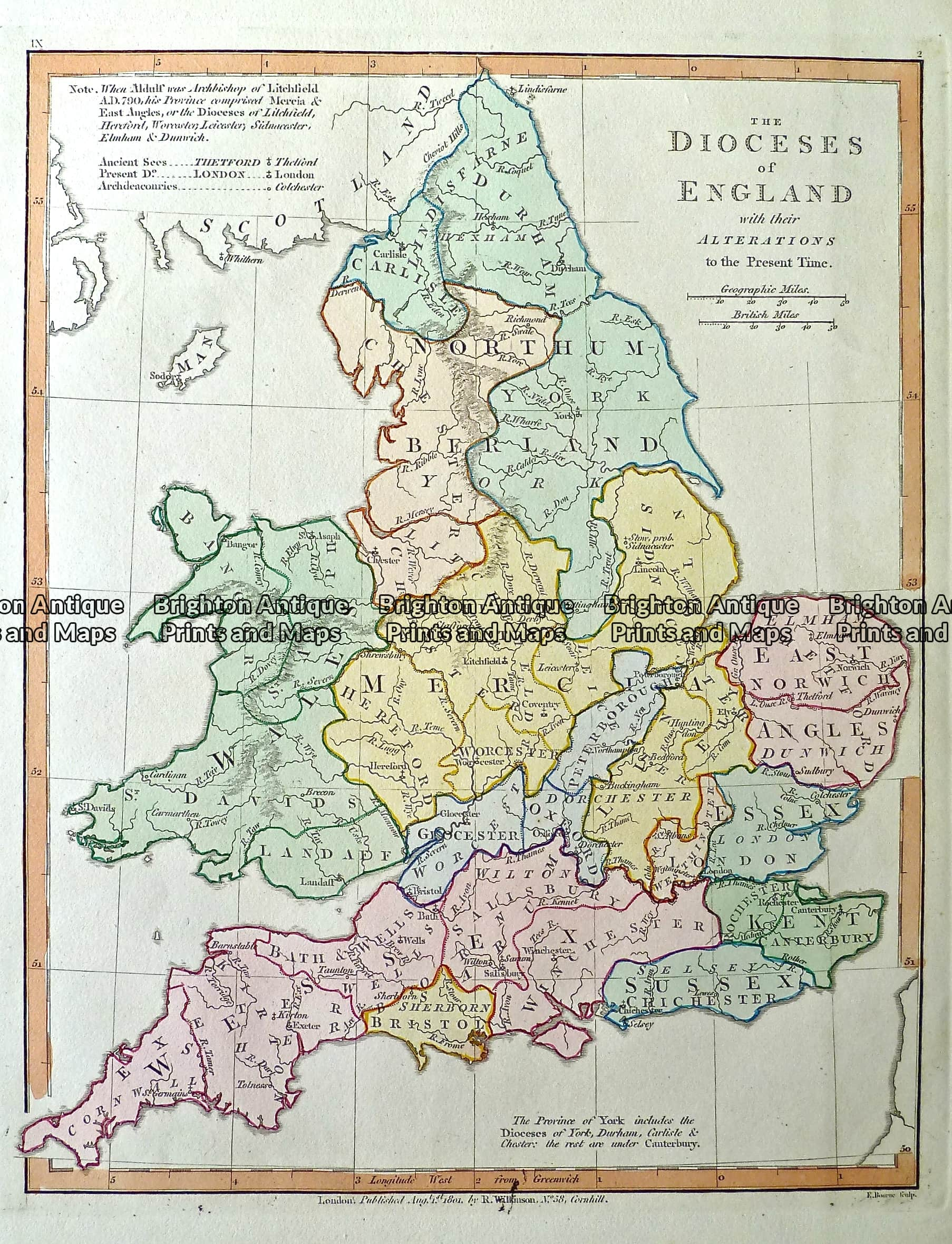 Antique Map 232 104 Dioceses Of England By Wilkinson C 1830