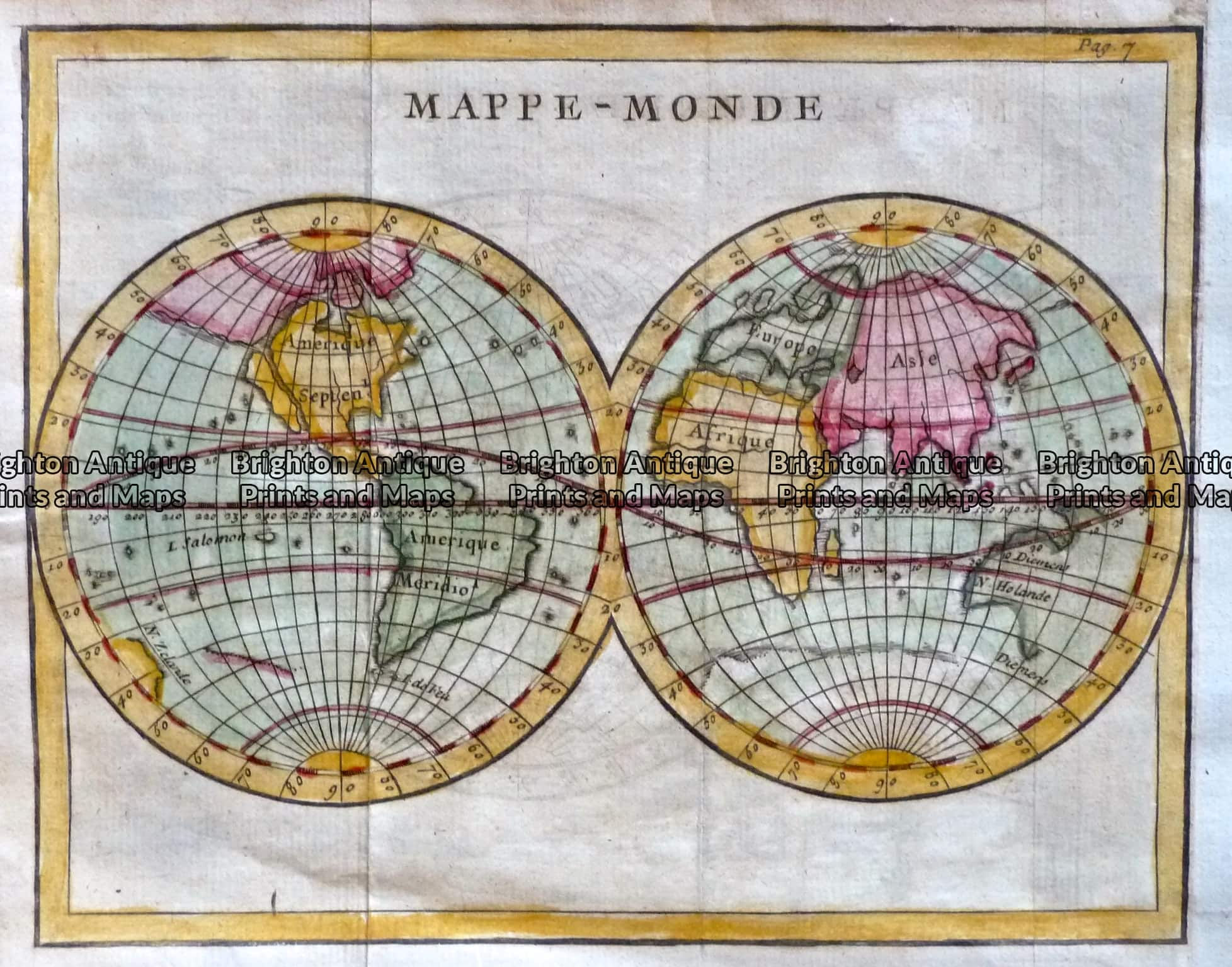 Antique Map 233 001 World Double Hemisphere Map C 1750 World And