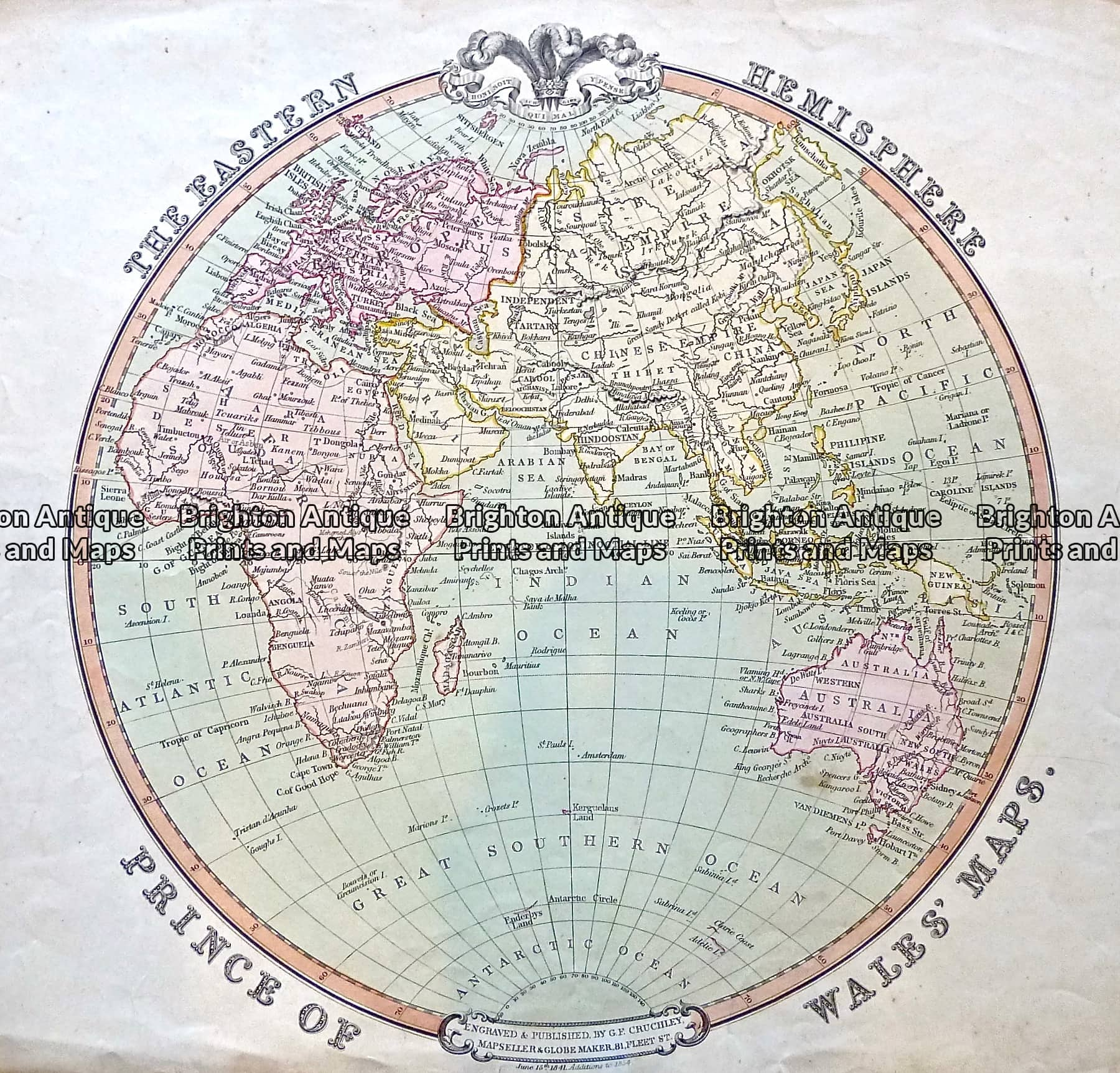 Antique Map 233-003 Eastern Hemisphere by Cruchley c. 1834 ...