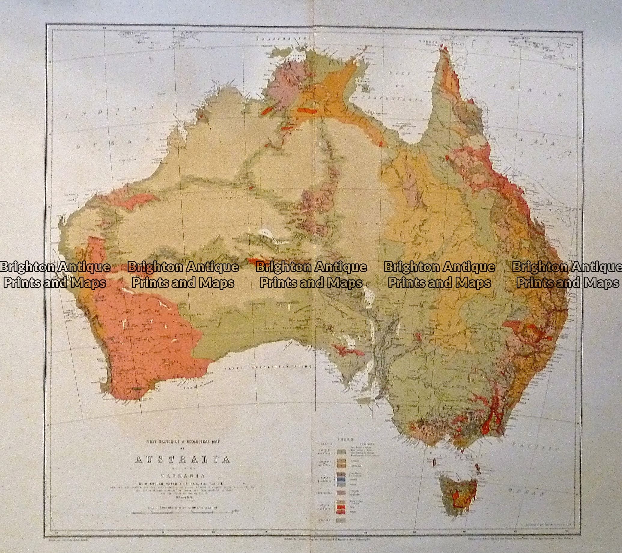 Map Of Australia To Buy.Antique Map 236 015 Geological Map Of Australia Brighton Antique