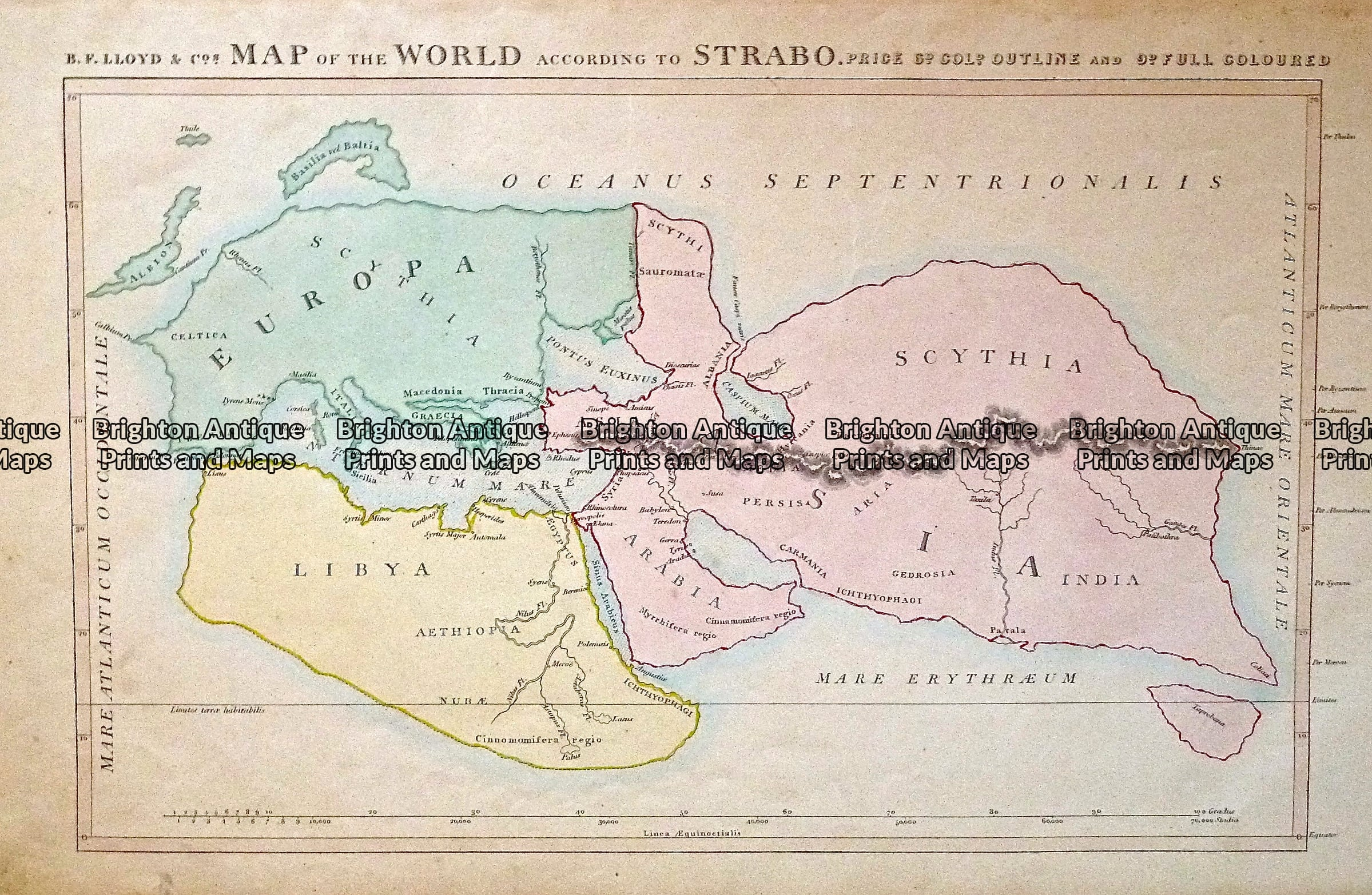 Antique Map 232 426 World According To Strabo By Lloyd C 1848