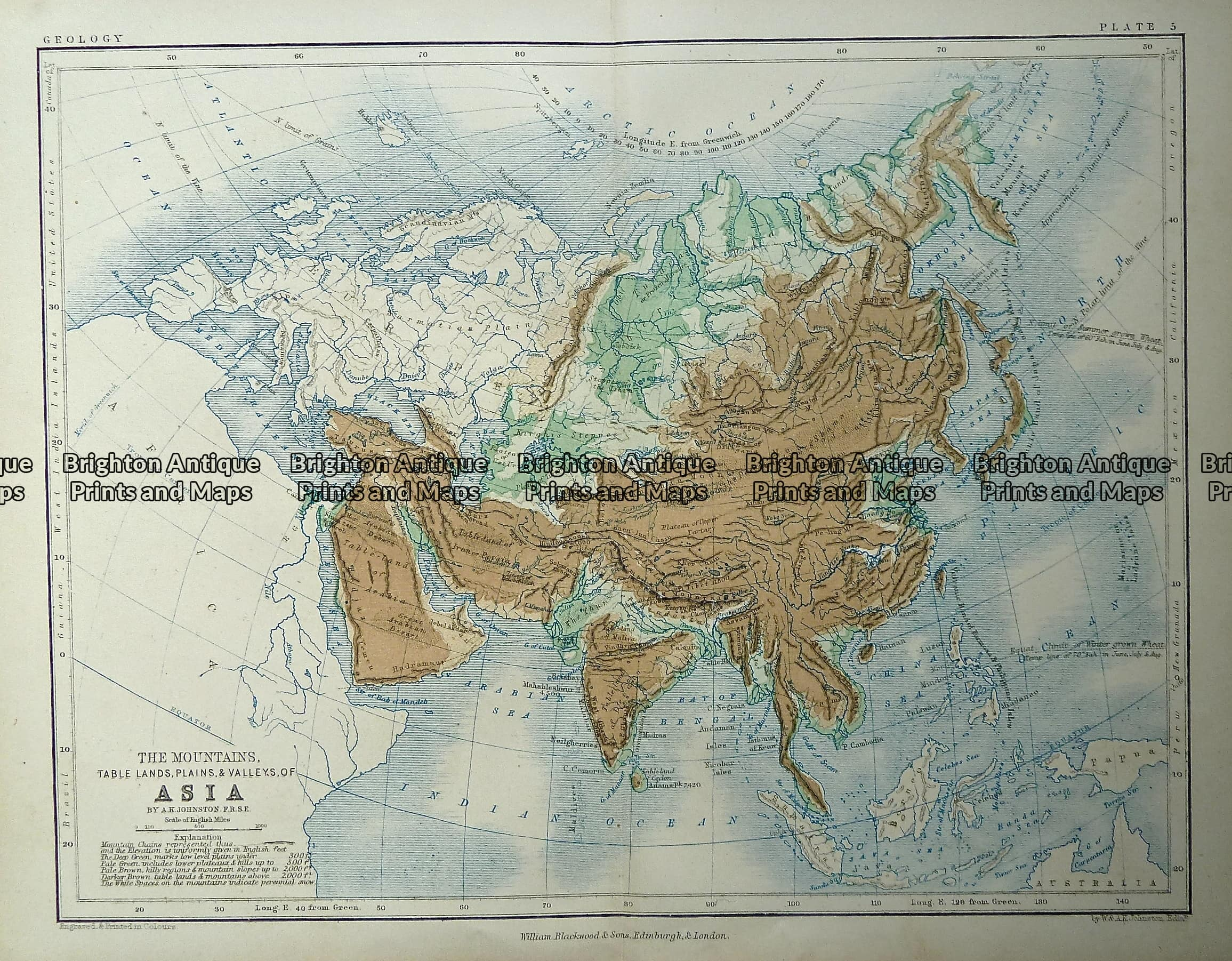 Antique Map Of World.Antique Map 232 581 Asia Mountains And Tablelands C 1851