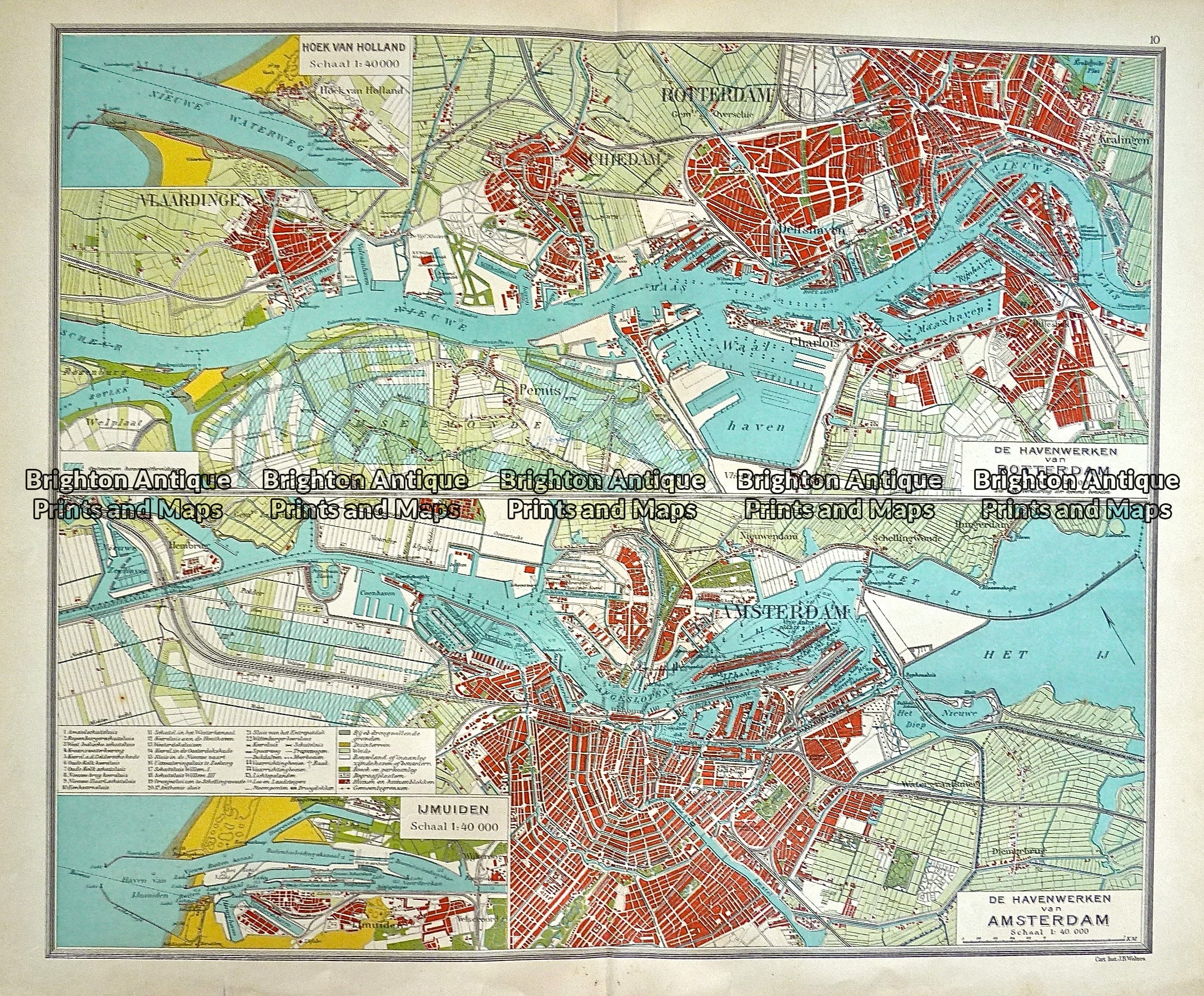 Antique Map 233-339 Holland - Amsterdam and Rotterdam by Wolters c ...